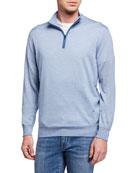 Isaia Men's Micro-Stripe Quarter-Zip Sweater