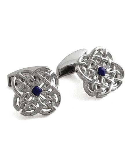 Tateossian Men's Silver Lapis Interlaced Mosaic Cufflinks