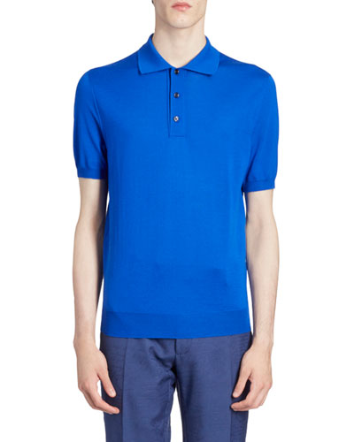 Men's Solid Wool Knit Polo Shirt