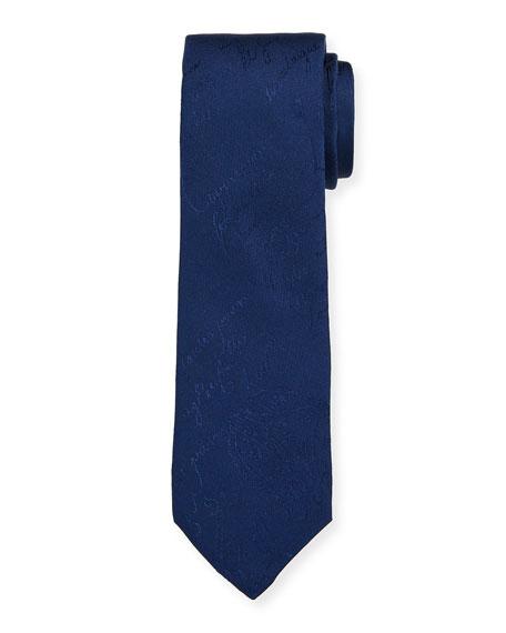 Berluti Men's Scritto Mulberry Silk Tie