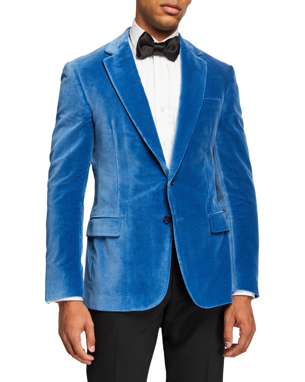 Ralph Lauren Jackets MEN'S SOLID VELVET DINNER JACKET, LIGHT BLUE