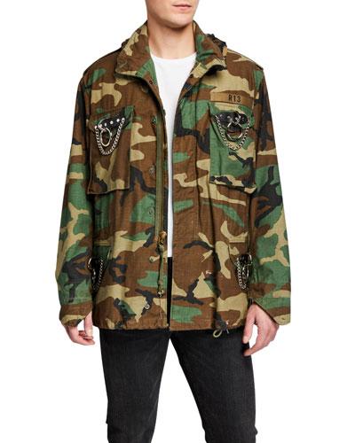 Men's Camo Hardware Military Jacket