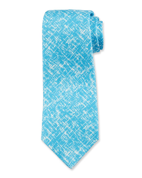 Kiton Men's Scratch-Print Silk Tie, Aqua