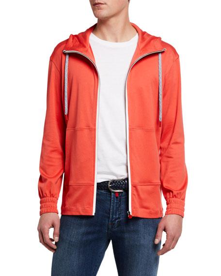 Kiton Men's Jersey Zip-Front Hoodie