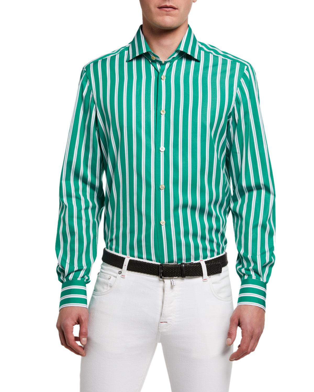 Men's Double-Stripe Cotton Sport Shirt