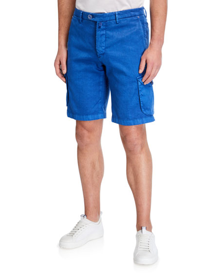 Kiton Men's Linen-Blend Cargo Shorts