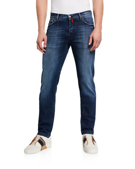 Kiton Men's Overstitch Medium-Wash Jeans
