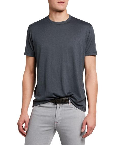 Kiton Men's Crewneck Short-Sleeve Cotton/Cashmere T-Shirt