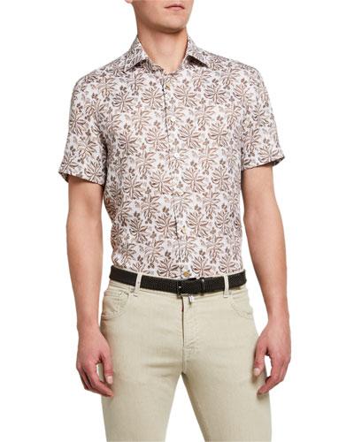 Men's Tropic-Print Linen Sport Shirt