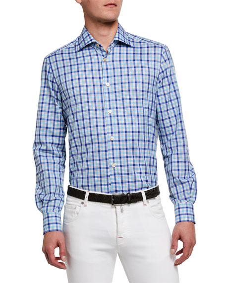 Kiton Men's Overcheck Cotton Sport Shirt
