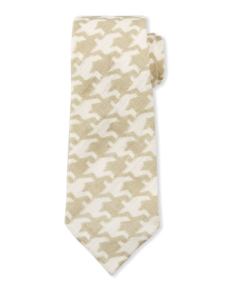 Kiton Men's Exploded Houndstooth Linen Tie