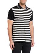 Karl Lagerfeld Paris Men's Striped Short-Sleeve Sport Shirt