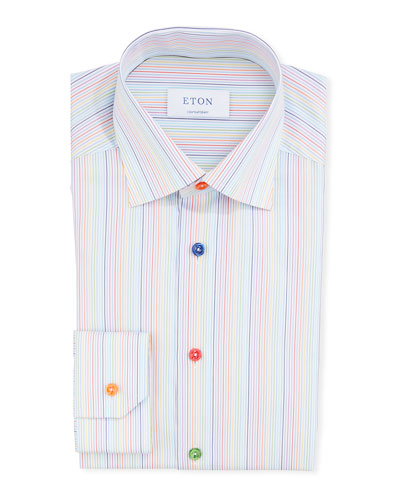 Men's Rainbow-Striped Contemporary-Fit Dress Shirt