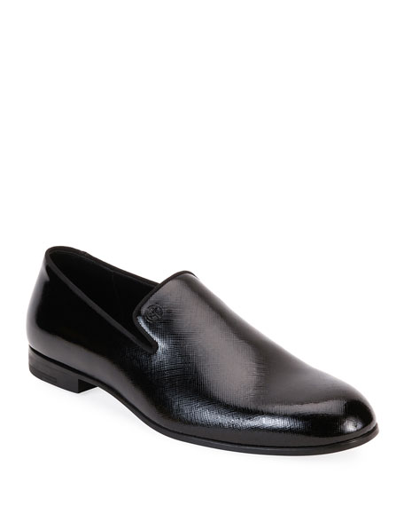 Giorgio Armani Men's Textured Patent Leather Formal Loafers