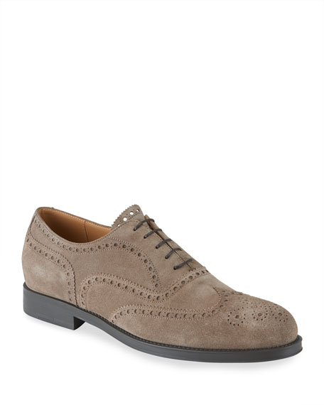 Giorgio Armani Men's Brogue Suede Oxford Shoes