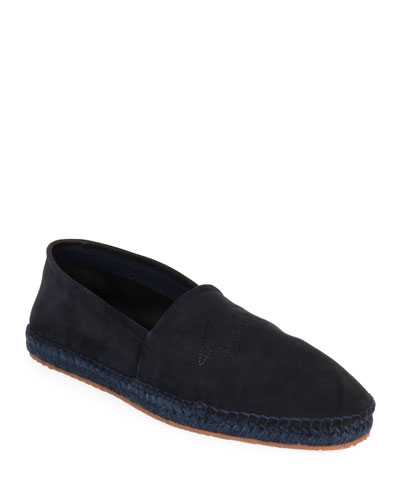 Men's Suede Perforated-Logo Espadrilles