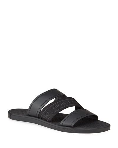 Men's Tonal Logo-Strap Leather Slide Sandals