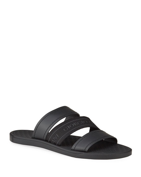 Giorgio Armani Men's Tonal Logo-Strap Leather Slide Sandals