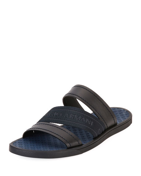 Giorgio Armani Men's Three-Strap Tonal Logo Sandals