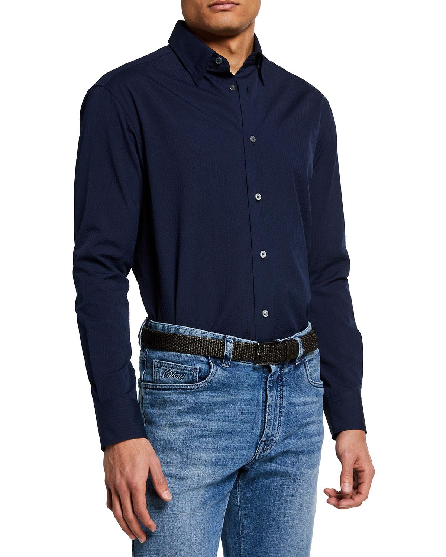 Men's Solid Seersucker Sport Shirt