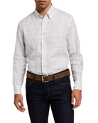 Brioni Men's Graph Check Linen Sport Shirt