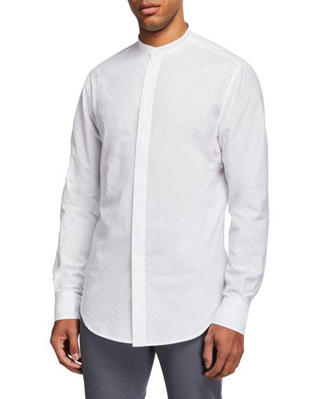 Brioni Men's Textured Mandarin-Collar Sport Shirt