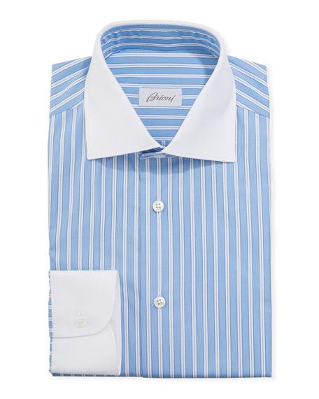Brioni Men's Contrast-Trim Striped Dress Shirt