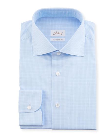 Brioni Men's Graph-Check Sport Shirt