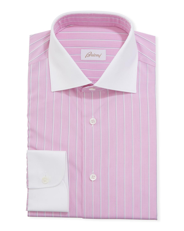 Men's Contrast-Trim Striped Dress Shirt