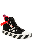 Off-White Men's Arrow Mid-Top Canvas Sneaker w/ Stripes