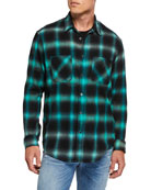 Amiri Men's Faded Check Sport Shirt