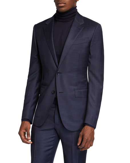 Ermenegildo Zegna Men's Plaid Wool-Silk Two-Piece Suit