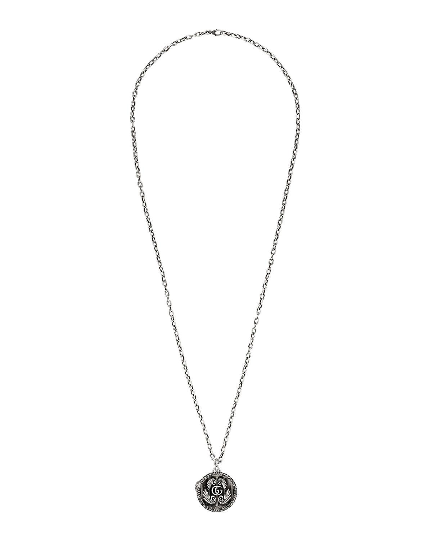 Men's Garden GG Snake Aged Silver Pendant Necklace