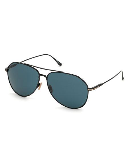 TOM FORD Men's Cyrus Titanium Aviator Sunglasses