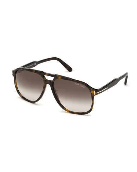 TOM FORD Men's Raoul Gradient Tortoiseshell Aviator Sunglasses
