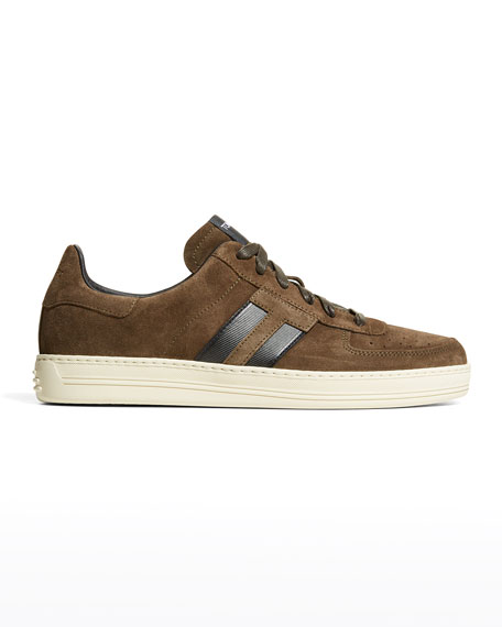 TOM FORD Men's Suede T-Logo Low-Top Sneakers
