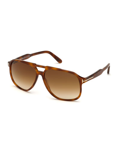 Men's Raoul Gradient Havana Aviator Sunglasses