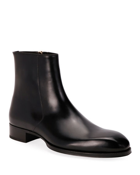 TOM FORD Men's Formal Leather Side-Zip Ankle Boots