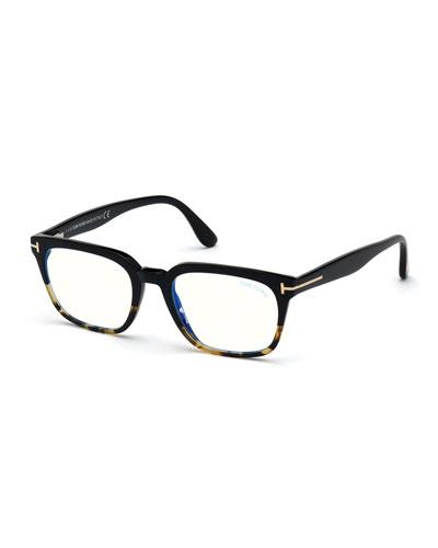 Men's Blue-Block Square Colorblock Pattern Optical Glasses