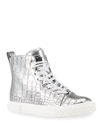 Men's Blabber Metallic Croc-Embossed High-Top Sneakers