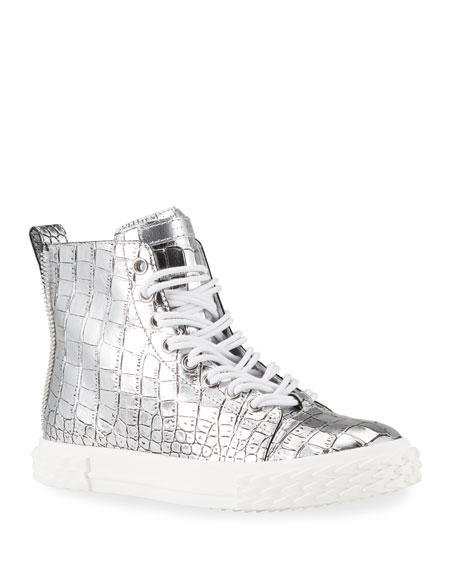 Giuseppe Zanotti Men's Blabber Metallic Croc-Embossed High-Top Sneakers