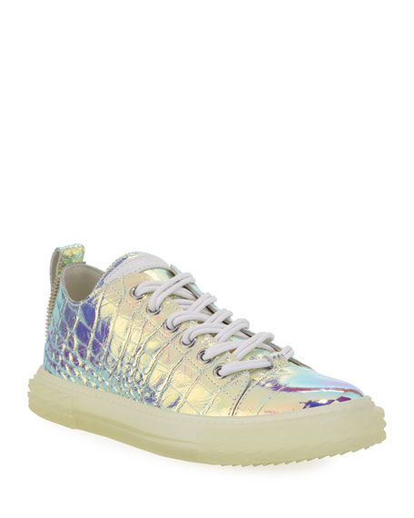 Giuseppe Zanotti Men's Iridescent Croc-Embossed Sneakers