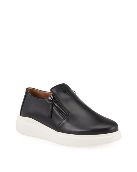 Giuseppe Zanotti Men's Leather Slip-On Zip Sneakers