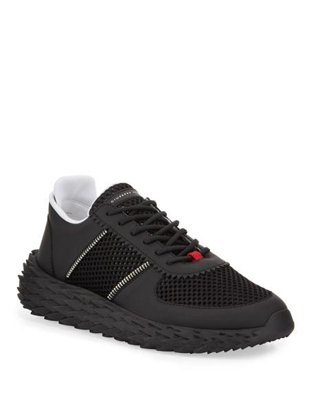 Giuseppe Zanotti Men's Urchin Knit Sneakers w/ Zip Detail