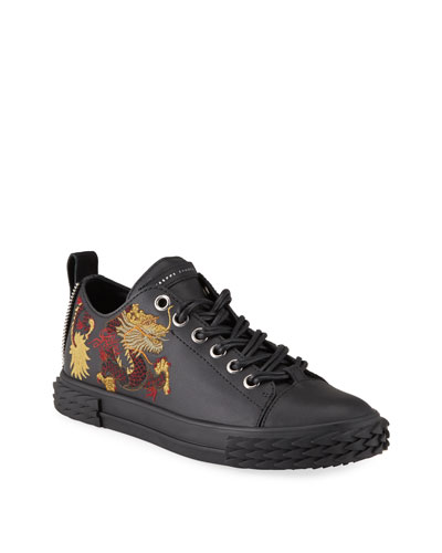 Men's Blabber Dragon-Embroidered Leather Sneakers