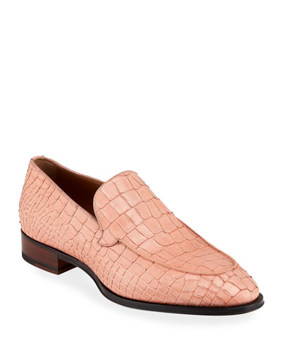 Men's Croc-Embossed Leather Loafers