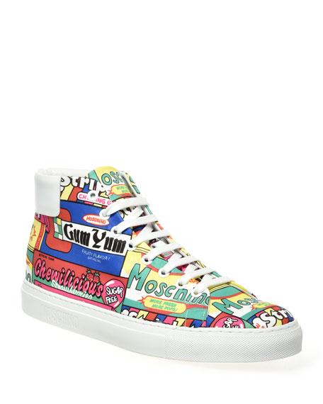 Moschino Men's Bubblegum Multicolor Mid-Top Sneakers