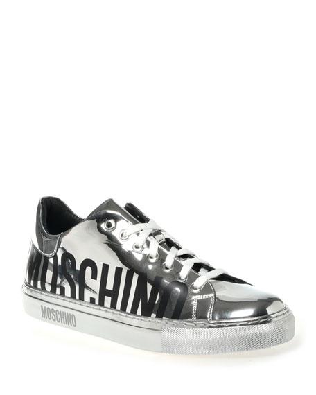 Moschino Men's Silver Mirror Logo Sneakers