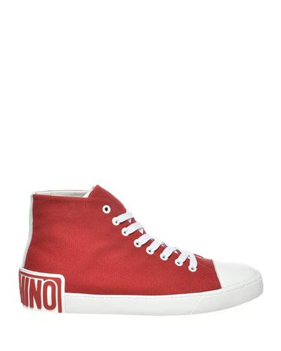 Men's Canvas Logo-Heel High-Top Sneakers