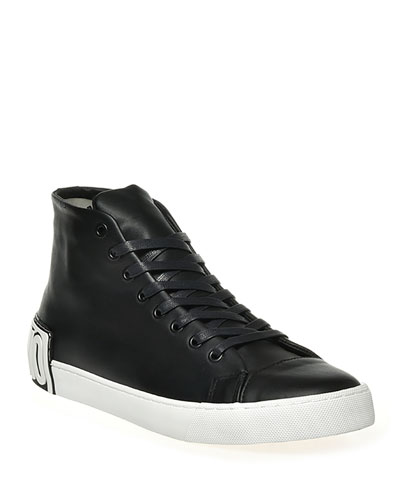 Men's Leather Logo High-Top Sneakers